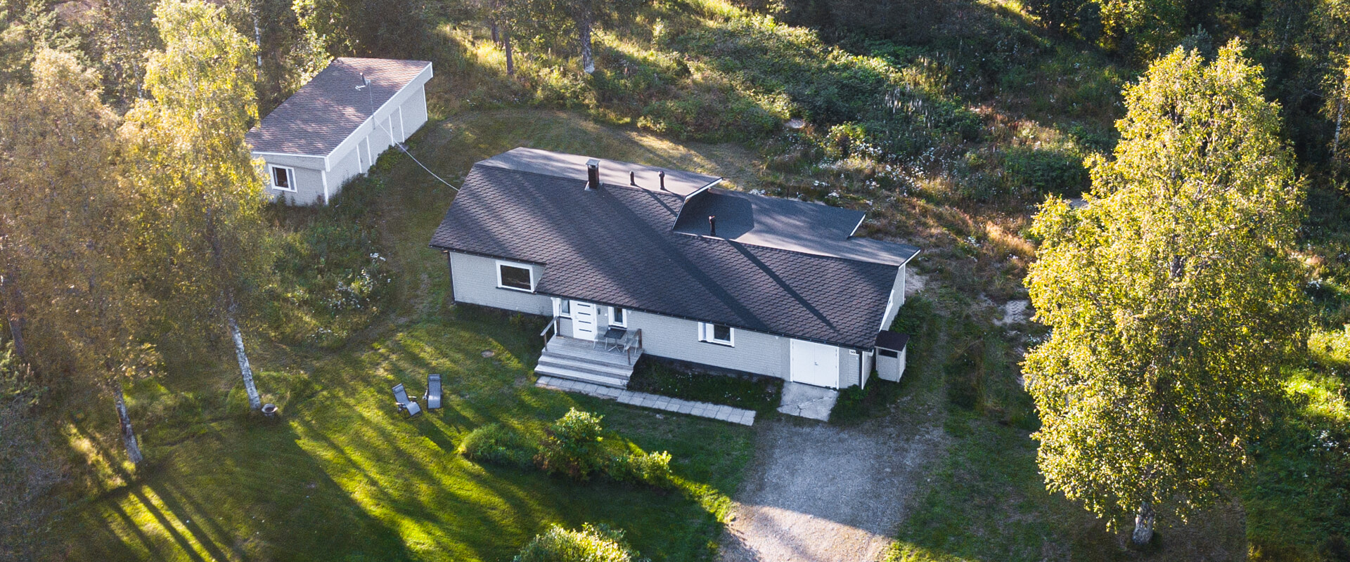 Aerial view of the Haistila cottage in summer