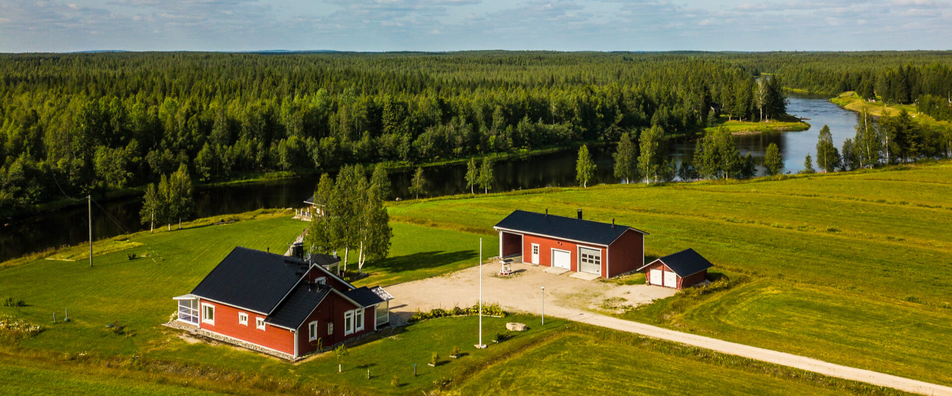 Aerial view of the Hommala cottage in summer